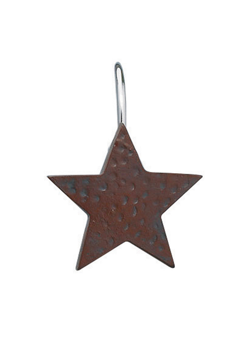 Star Shower Curtain Hooks - Red