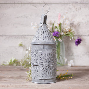 15-Inch Primitive Lantern in Weathered Zinc