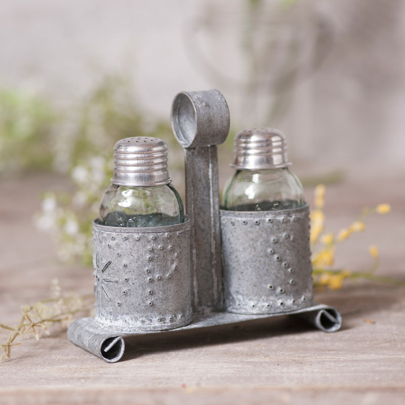 Salt and Pepper Shaker Holder in Weathered Zinc