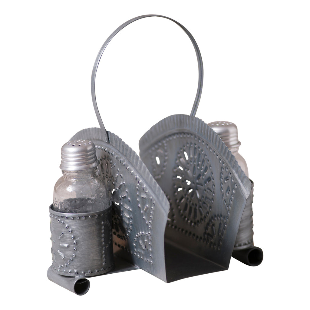Napkin and Shaker Holder in Antique Tin