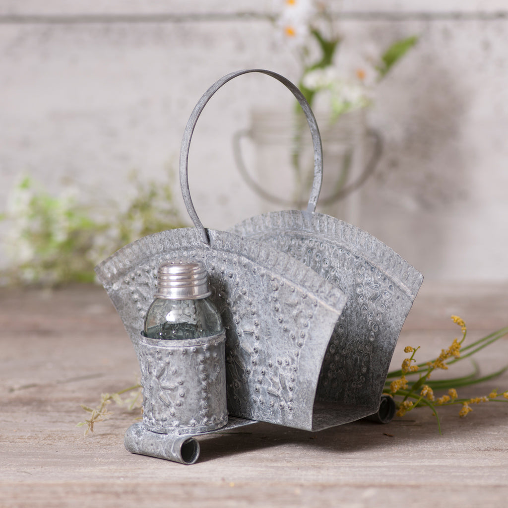 Napkin and Shaker Holder in Weathered Zinc