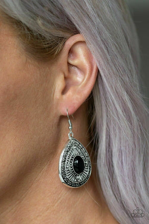 Paparazzi Tropical Topography Black Earrings