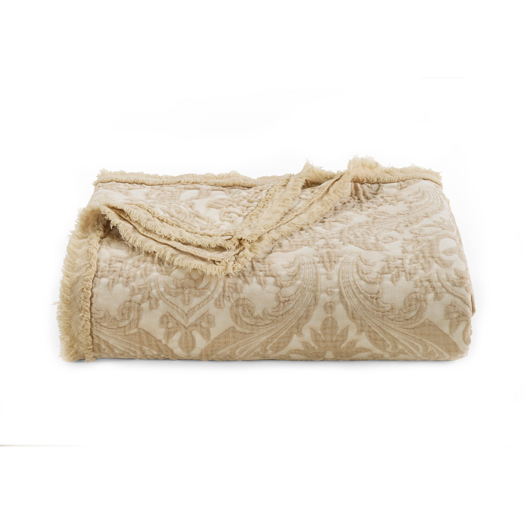 Over-Sized Damask Throw in Oatmeal