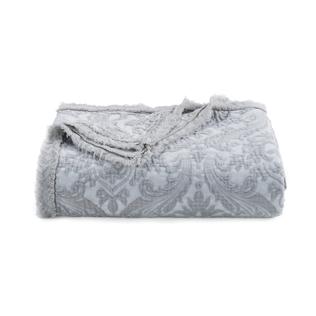 Over-Sized Damask Throw in Grey