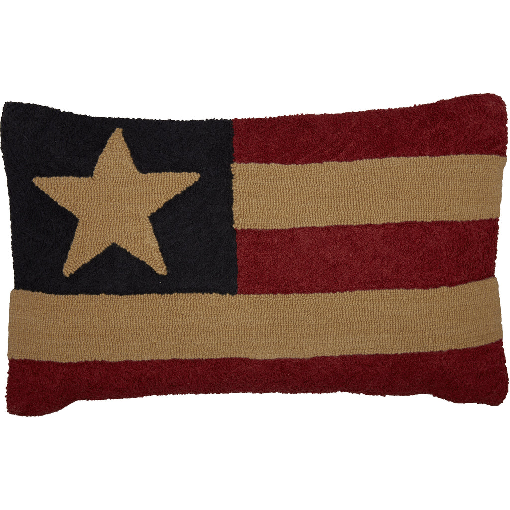Patriotic Patch Flag Hooked Pillow 14x22