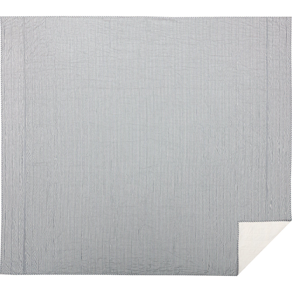Sawyer Mill Blue Ticking Stripe California King Quilt Coverlet 130Wx115L