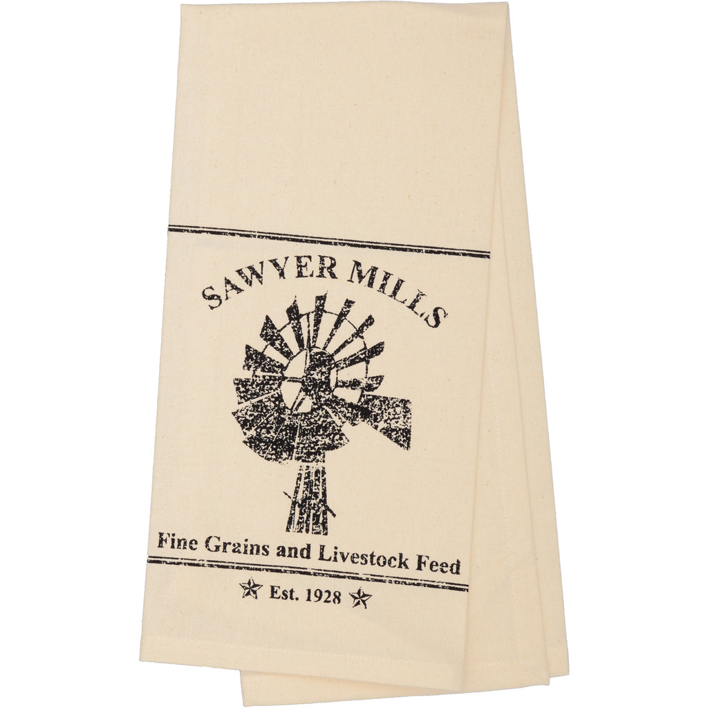 Sawyer Mill Charcoal Windmill Muslin Unbleached Natural Tea Towel 19x28