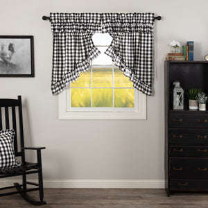 Annie Buffalo Black Check Ruffled Prairie Swag Set of 2 36x36x18