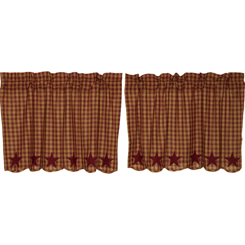 Burgundy Star Scalloped Tier Set of 2 L24xW36