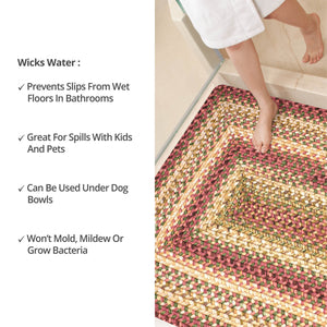 Barcelona Gold - Burgundy Ultra Durable Braided Rug Collection
