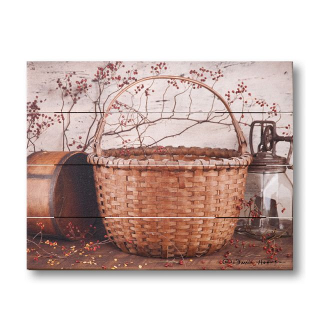 Farmhouse Pallet Wall Art ~ Basket and Roseberries by Irvin Hoover