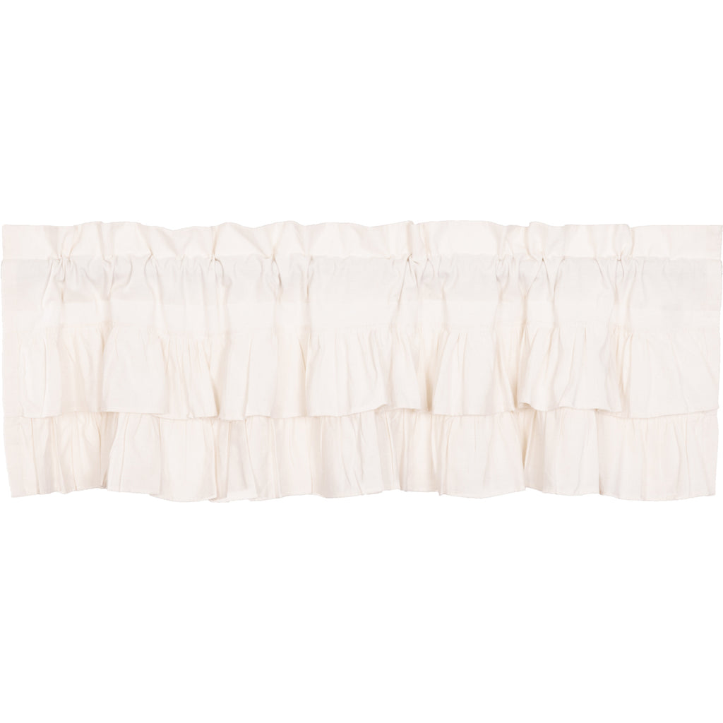 Simple Life Flax Antique White Ruffled Valance 16x60