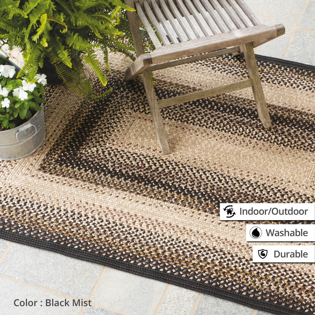 Black Mist Ultra Durable Braided Rug Collection
