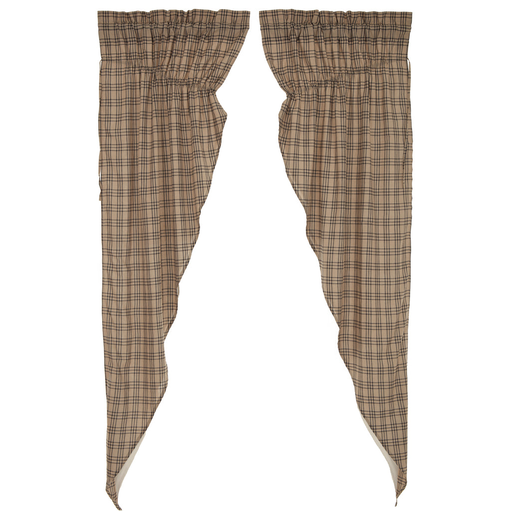 Sawyer Mill Charcoal Plaid Prairie Long Panel Curtain Set of 2 84x36x18