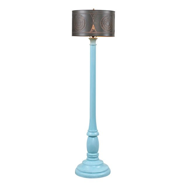 Brinton Floor Lamp in Misty Blue with Shade