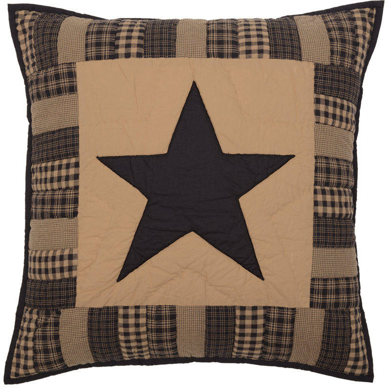 Black Check Star Quilted Euro Sham 26x26