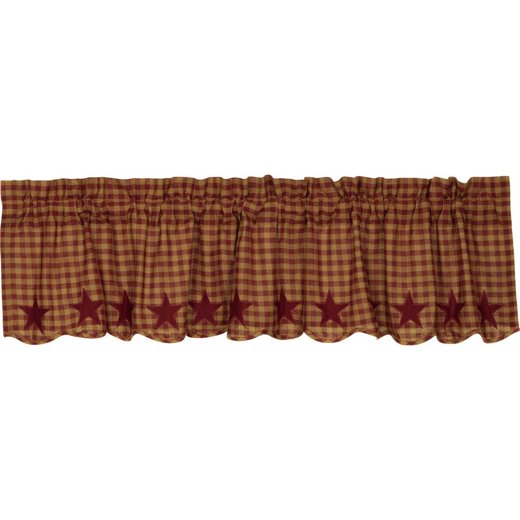 Burgundy Star Scalloped Valance 16x72