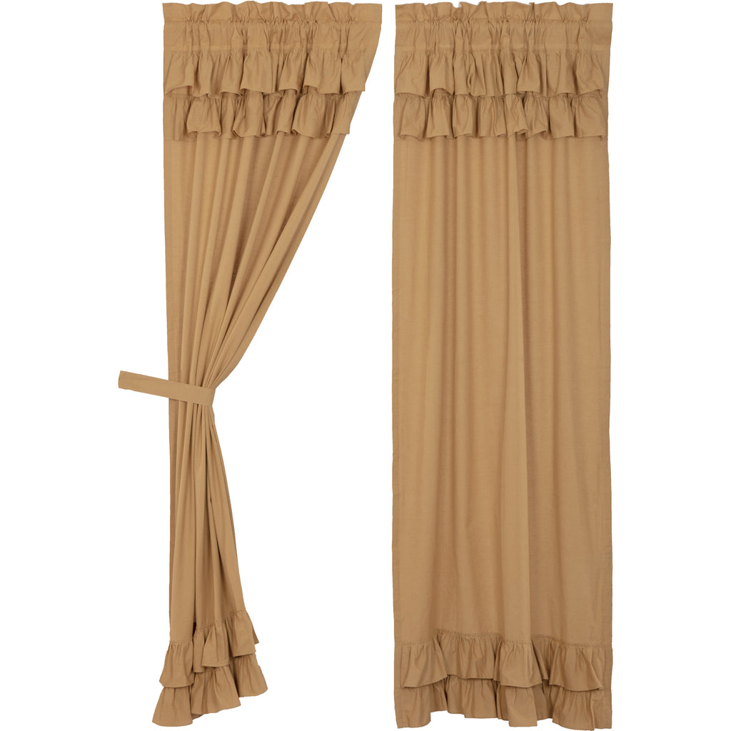 Simple Life Flax Khaki Ruffled Panel Set of 2 84x40