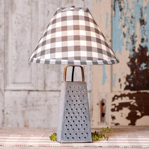 Cheese Grater Lamp with Grey Check Shade