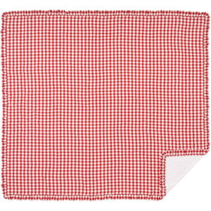 Annie Buffalo Red Check Ruffled King Quilt Coverlet 105Wx95L