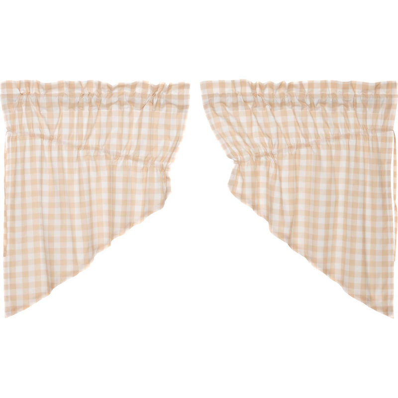 Annie Buffalo Tan Check Prairie Swag Set of 2 36x36x18