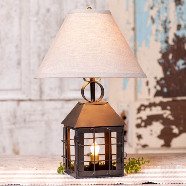 Colonial Lantern Lamp with Ivory Linen Shade