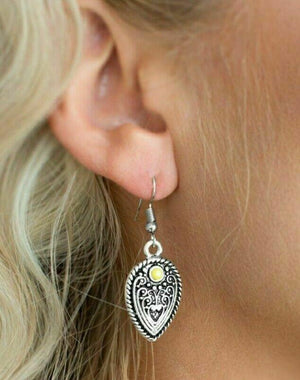 Paparazzi Distance PASTURE Yellow Earrings