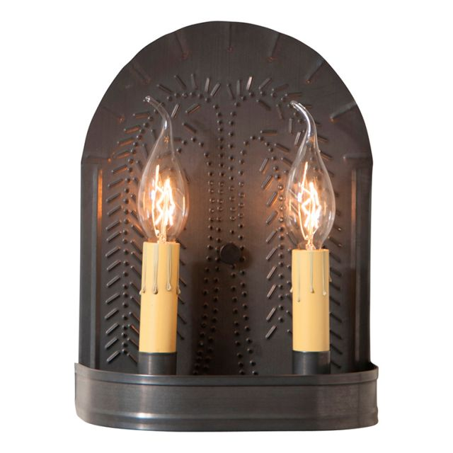 Double Sconce Light with Willow in Kettle Black