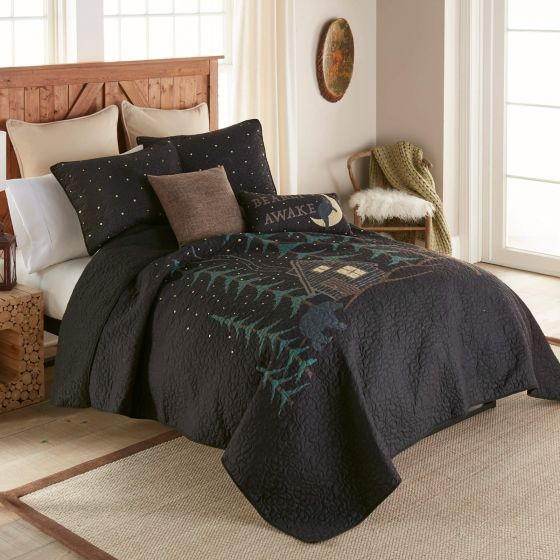 Donna Sharp Evening Lodge Quilted Collection Bed Side View with Throw Pillows