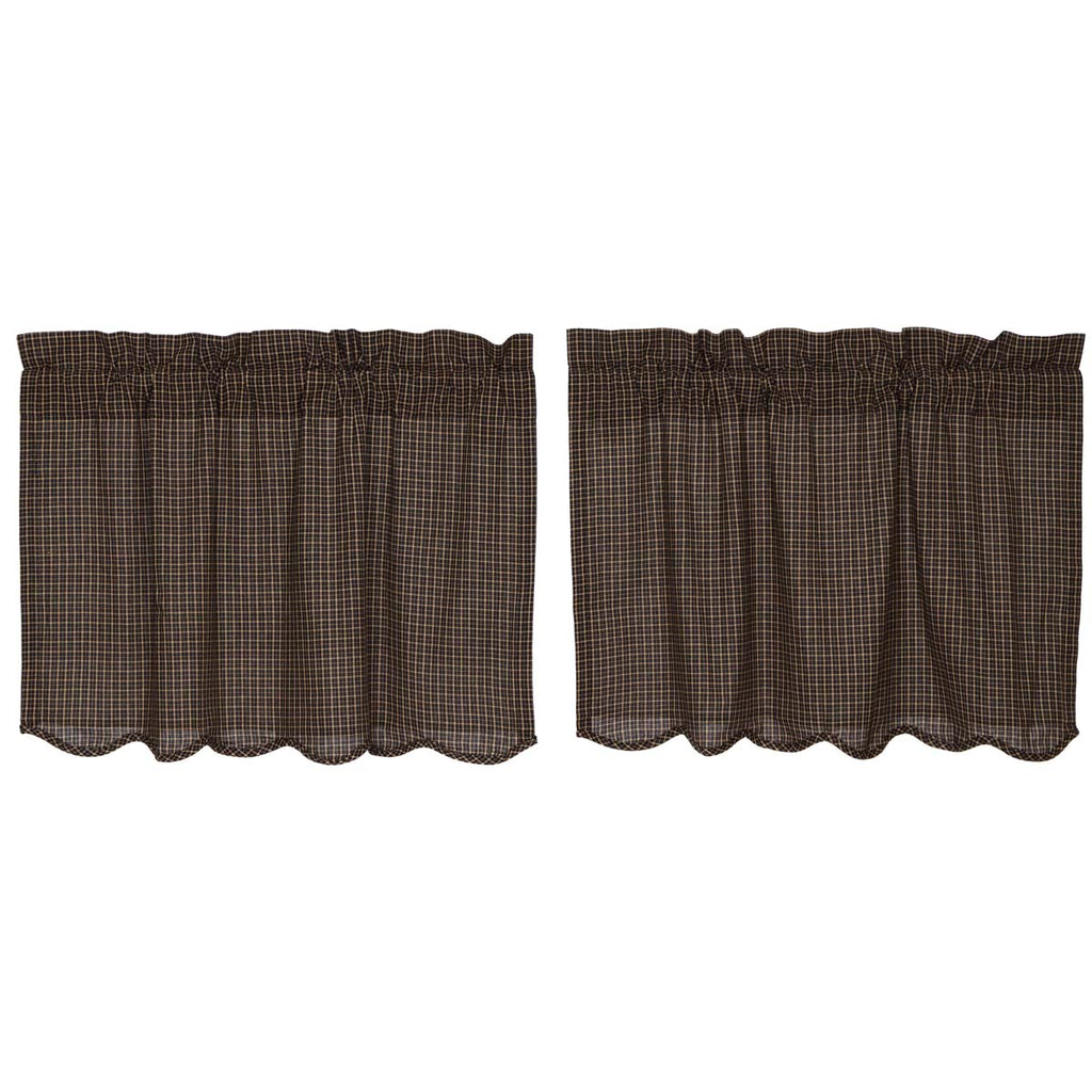 Kettle Grove Plaid Tier Scalloped Set of 2 L24xW36