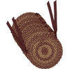 Burgundy Tan Jute Chair Pad Set of 6