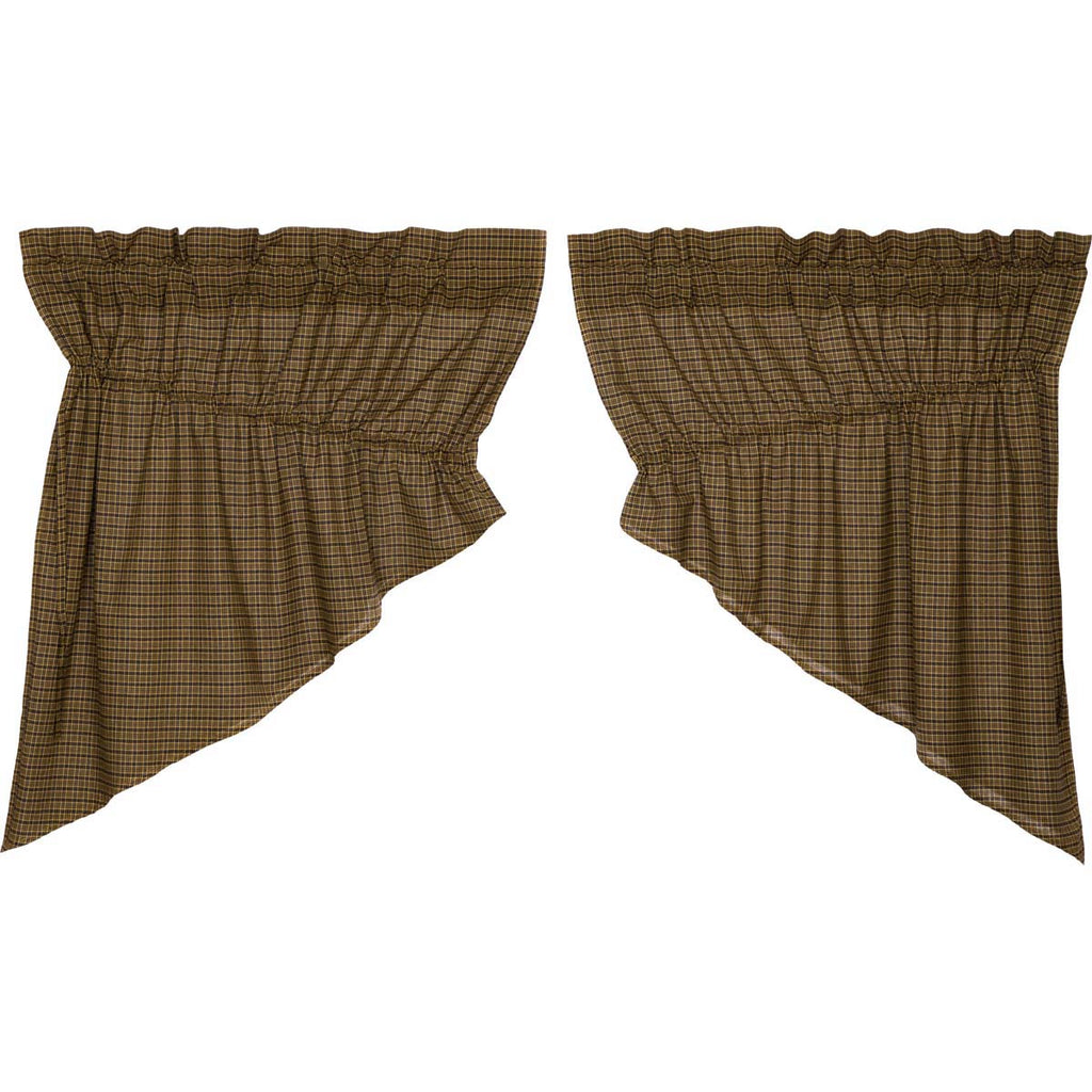 Tea Cabin Green Plaid Prairie Swag Set of 2 36x36x18