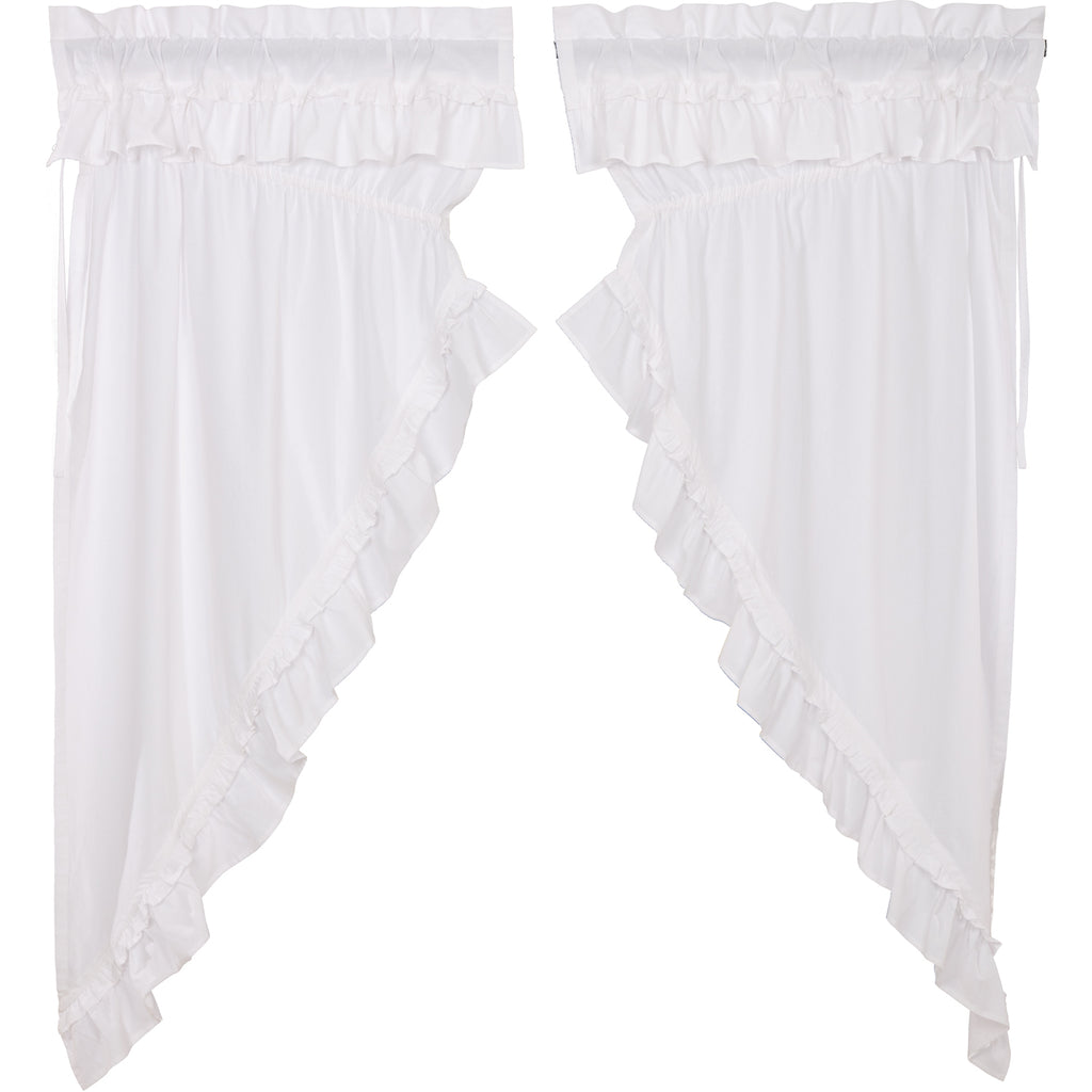 Muslin Ruffled Bleached White Prairie Short Panel Set of 2 63x36x18