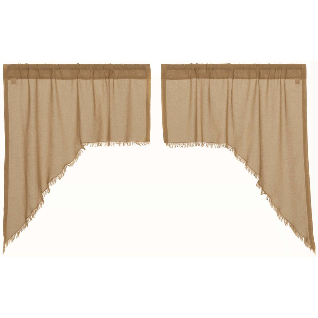 Tobacco Cloth Khaki Swag Fringed Set of 2 36x36x16