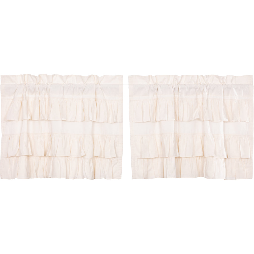 Simple Life Flax Antique White Ruffled Tier Set of 2 L24xW36
