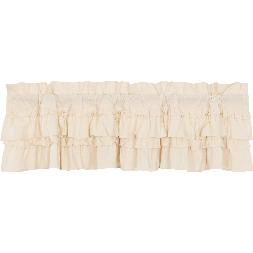 Muslin Ruffled Unbleached Natural Valance 16x60