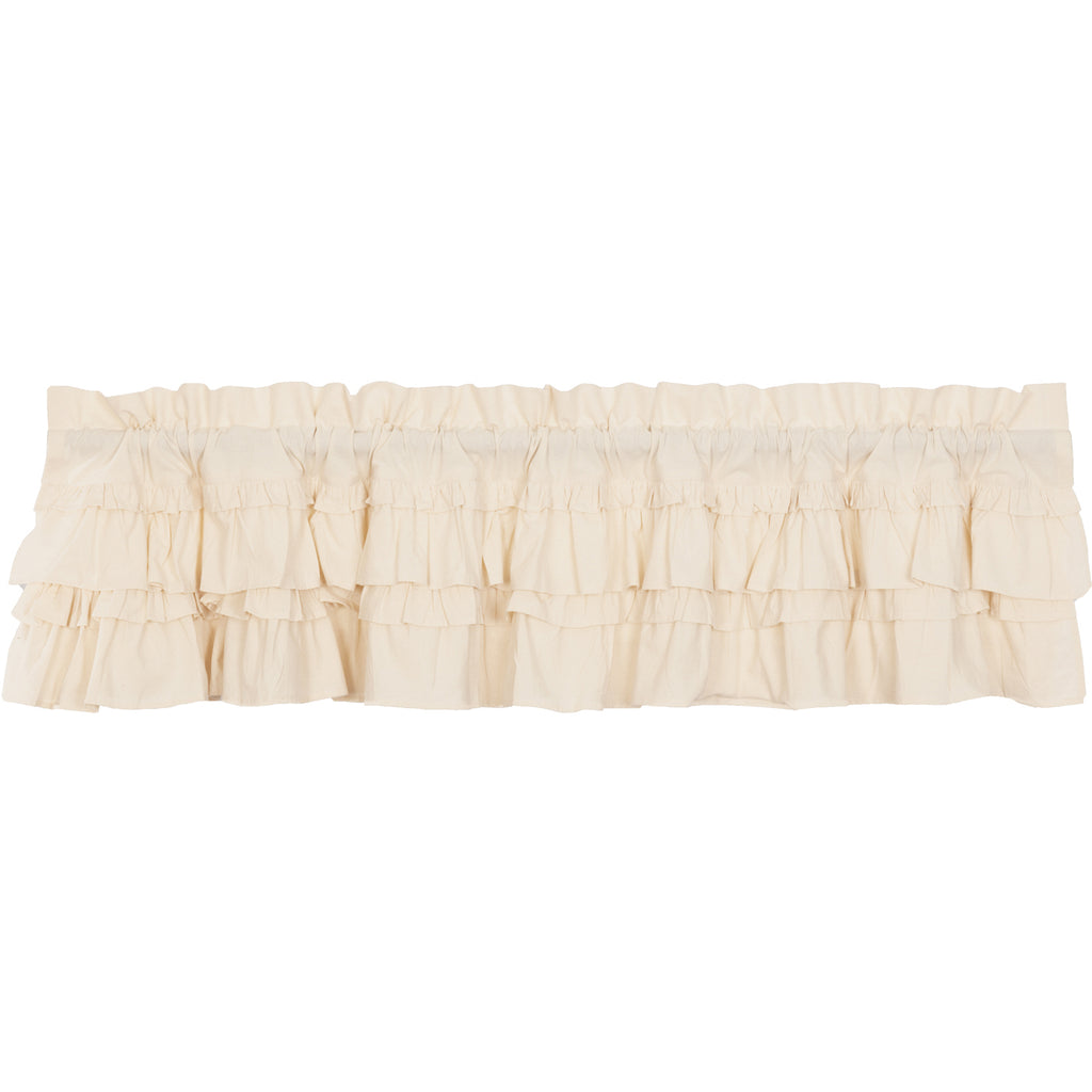 Muslin Ruffled Unbleached Natural Valance 16x72