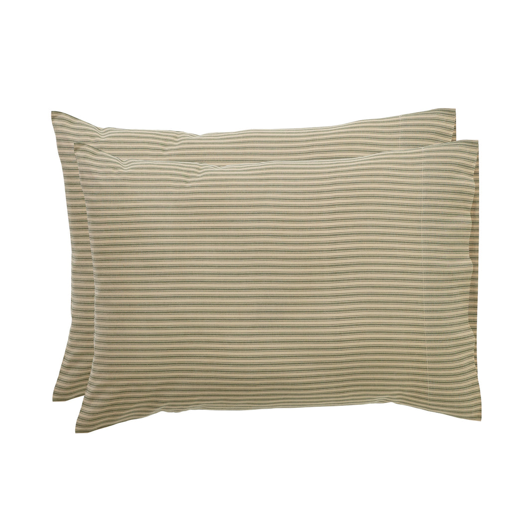 Prairie Winds Green Ticking Stripe Standard Pillow Case Set of 2 21x30