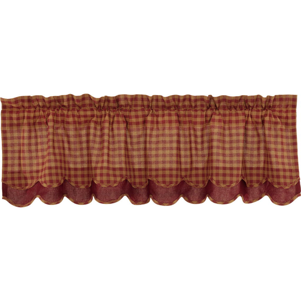 Burgundy Check Scalloped Layered Valance 16x60