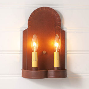 Hanover Double Sconce Light in Rustic Tin