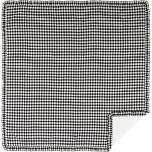 Annie Buffalo Black Check Ruffled Queen Quilt Coverlet 90Wx90L