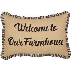 Ashmont Burlap Vintage Welcome to Our Farmhouse Pillow 14x22