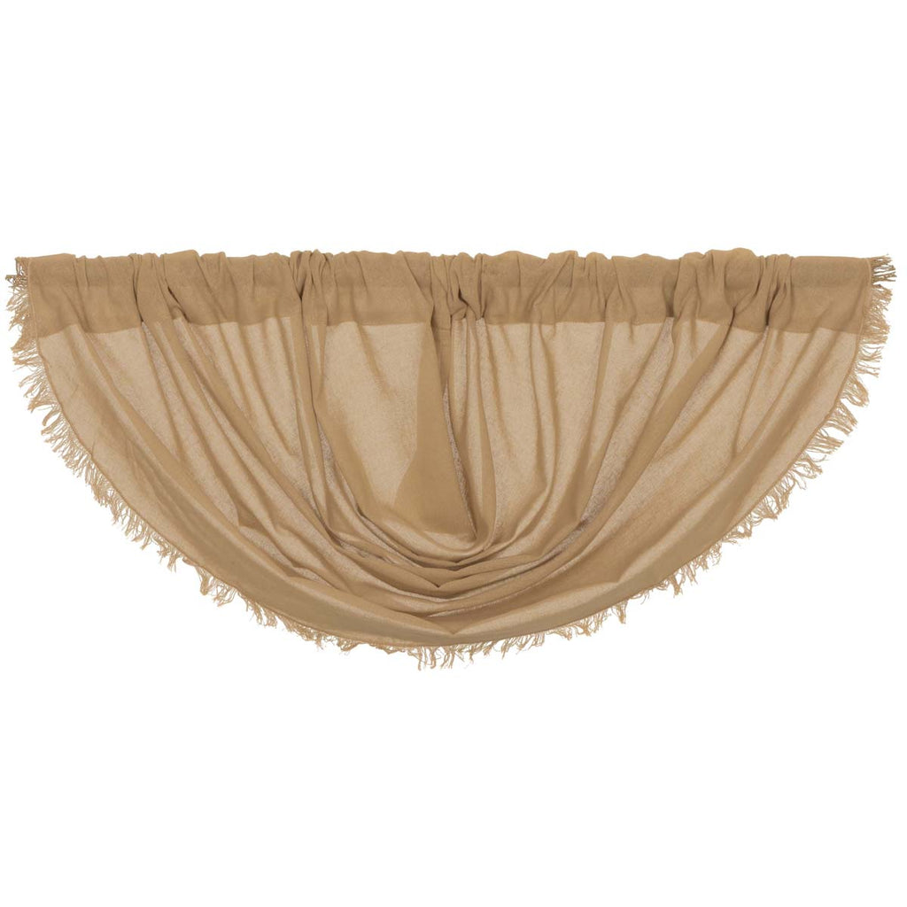 Tobacco Cloth Khaki Balloon Valance Fringed 15x60