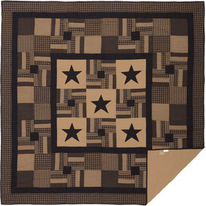 Black Check Star Queen Quilt 90Wx90L