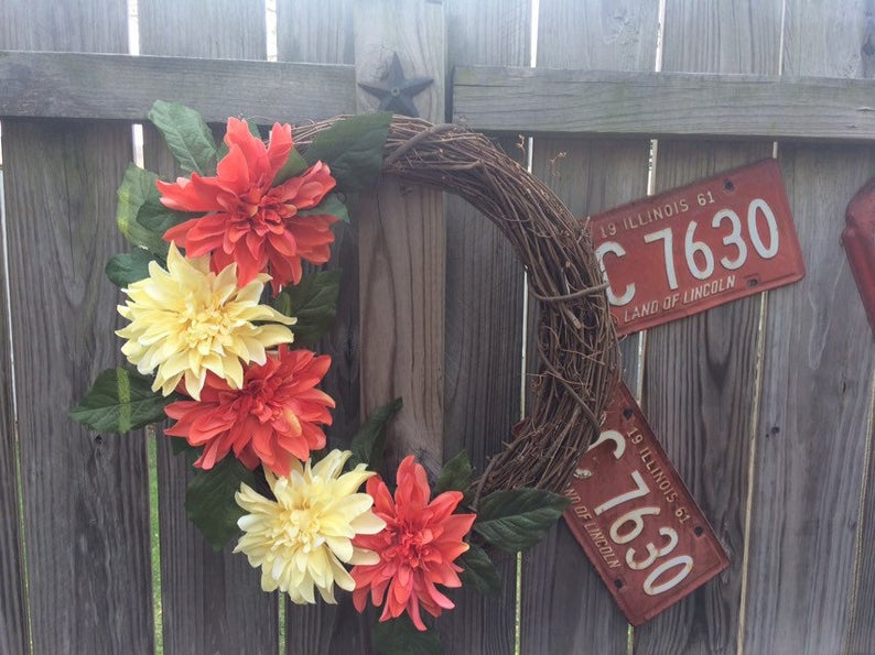Handmade Wreath - Orange & Yellow Dahlia Floral