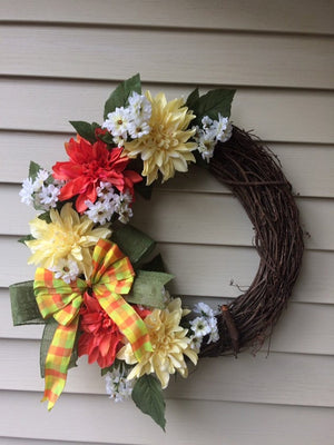 Handmade Wreath - Orange & Yellow Floral