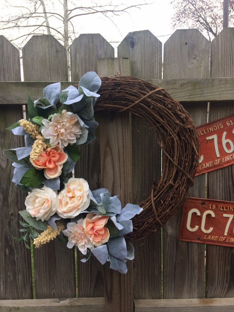 Handmade Wreath - Peach Floral