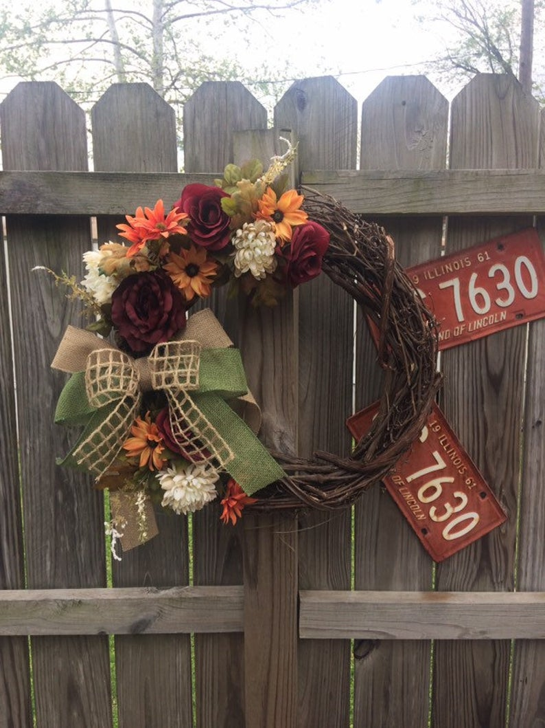 Handmade Wreath - Burgundy & Gold Fall Floral