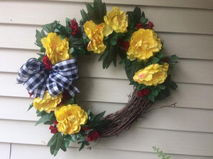 Handmade Wreath - Yellow & Red Floral