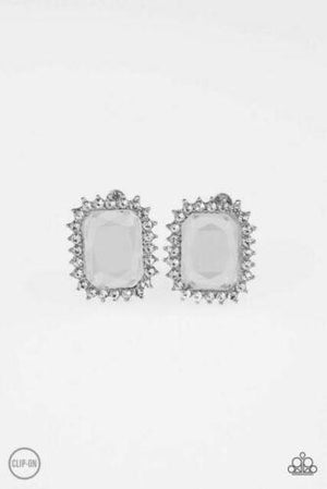 Paparazzi Insta Famous White Clip-On Earrings